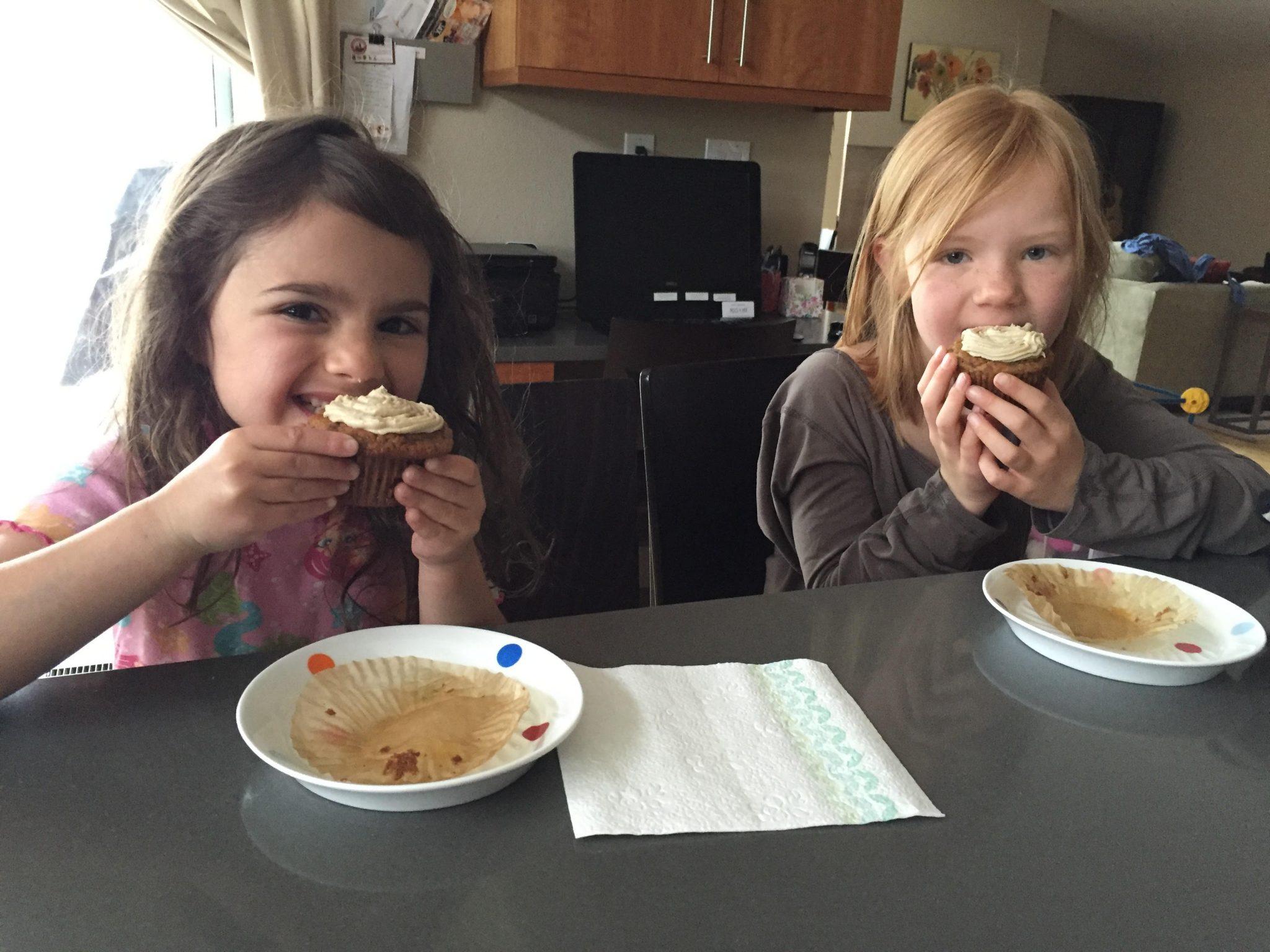 girls eating breakfast cupcakes
