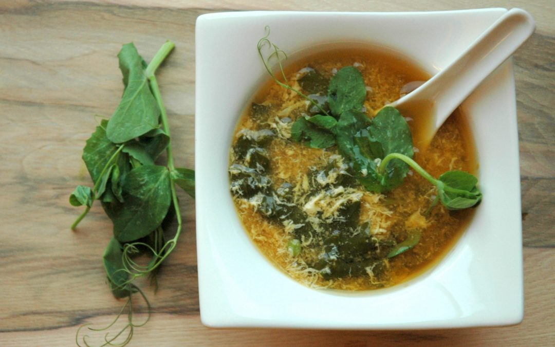 Egg Drop Soup with Spring Greens & Peas