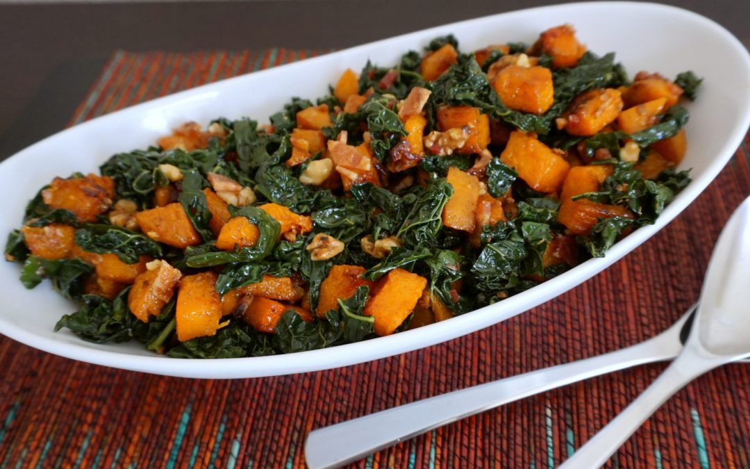 Butternut Squash with Kale, Walnuts & Bacon