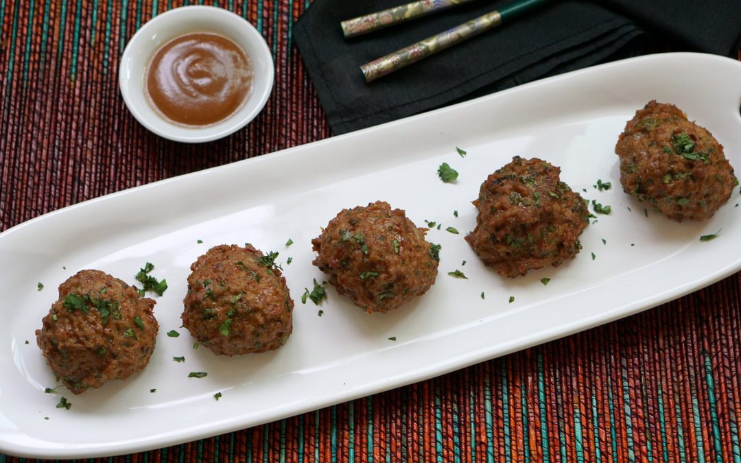 Asian Style Turkey Meatballs with Creamy Tahini Sauce